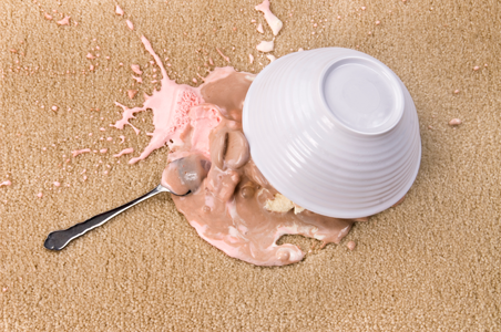 Everclean Carpet Cleaning Services gets food spills (like the ice cream shown) and odors out of your carpet for truly clean results.